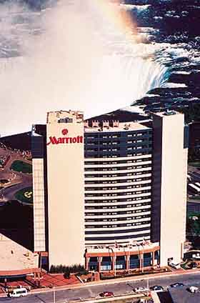 View of the Marriott Fallsview Hotel of Niagara Falls, Ontario Canada
